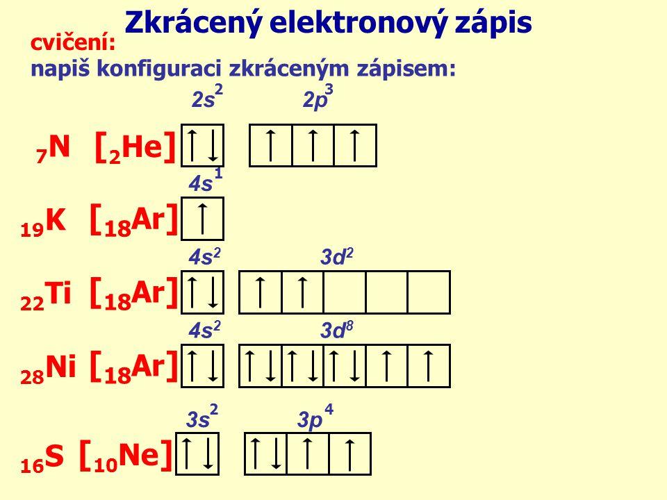 [2He] [18Ar] [10Ne] Zkrácený elektronový zápis 7N 19K 22Ti 28Ni 16S